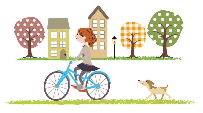 ペットと一緒に自転車で運動